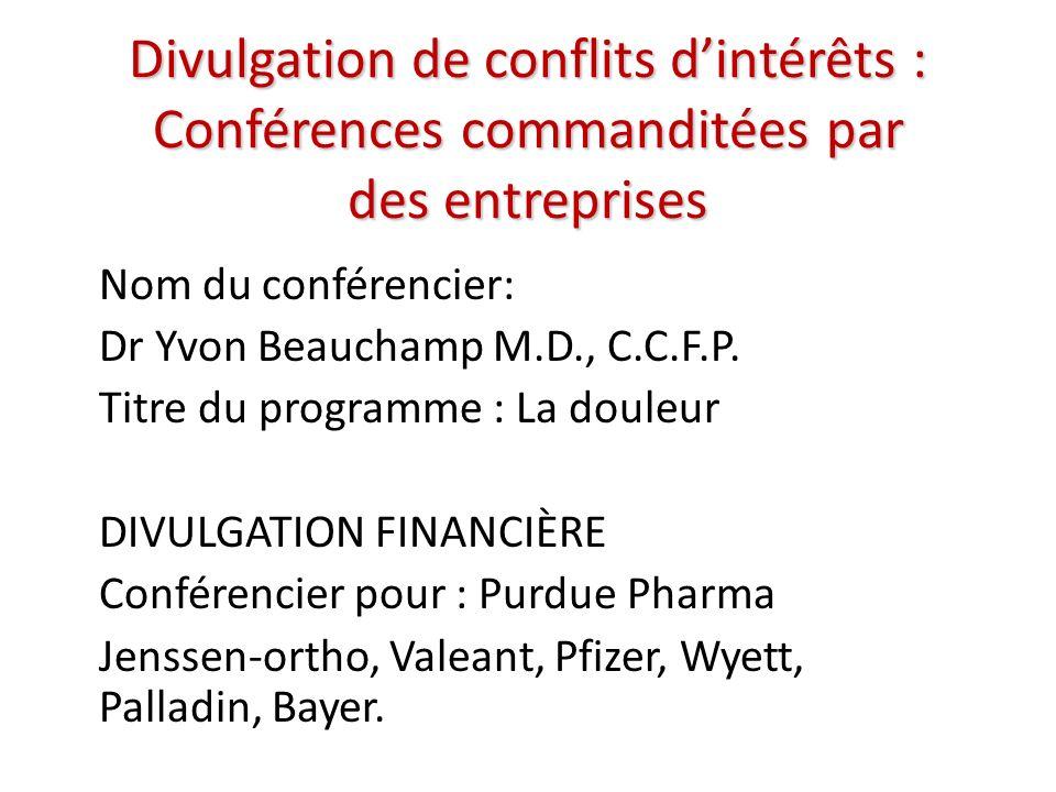 Divulgation de conflits dintérêts : Conférences commanditées par des entreprises Nom du conférencier: Dr Yvon Beauchamp M.D., C.C.F.P.