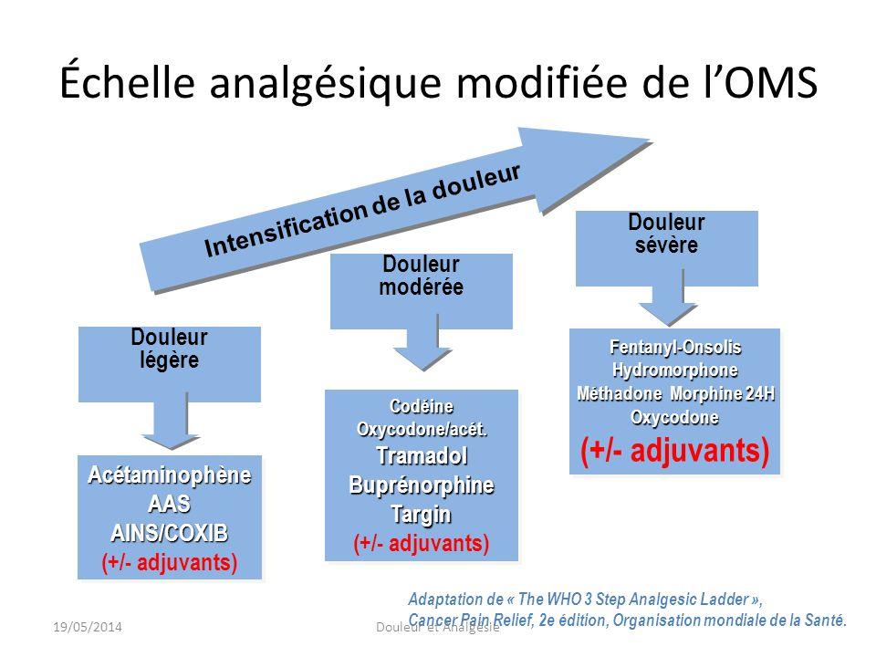 La boîte à outils de lanalgésieAnalyze Analyser Non- opiacés Acétaminophène, AAS, coxibs, AINS OpiacésSystème transdermique de Buprénorphine, Codéine, Système transdermique de Fentanyl, Hydromorphone, Morphine, Oxycodone, Tramadol, BEMA-Fentanyl, Pour plusieurs agents, on peut choisir entre une présentation à libération immédiate (IR) et une présentation à libération contrôlée (CR) ou à libération rapide (RR) et à action courte 19/05/2014Douleur et Analgésie