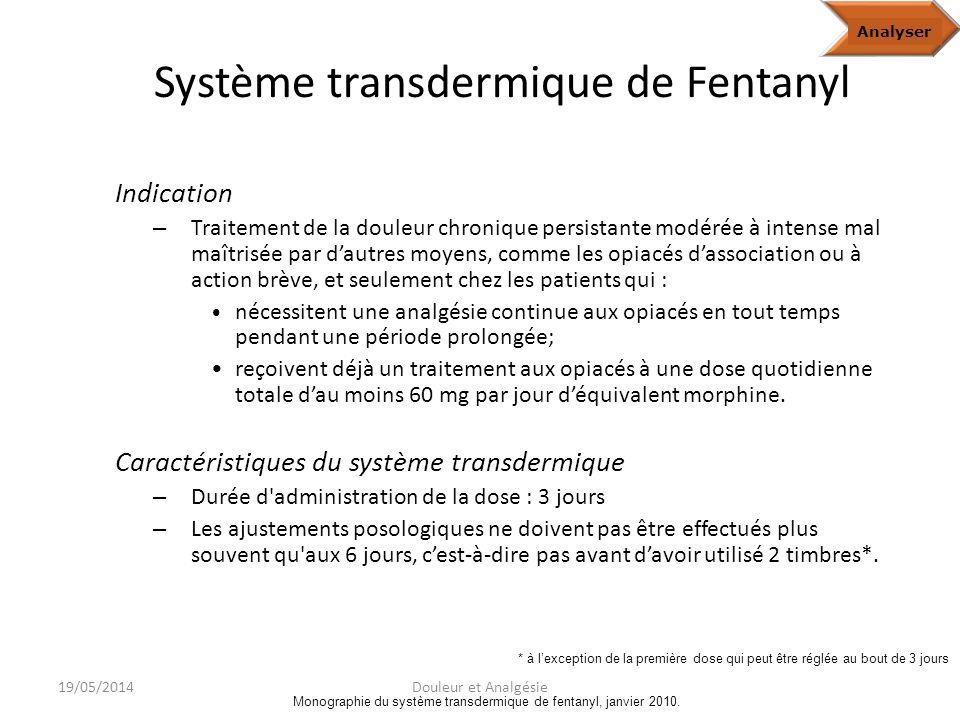 Fentanyl Analgésique synthétique agissant principalement sur les récepteurs opioïdes de type μAnalyze Monographie du système transdermique de fentanyl, janv.