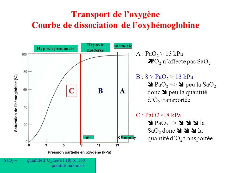 Transport de loxygène Courbe de dissociation de loxyhémoglobine A : PaO 2 > 13 kPa PO 2 naffecte pas SaO 2 B : 8 > PaO 2 > 13 kPa PaO 2 => peu la SaO