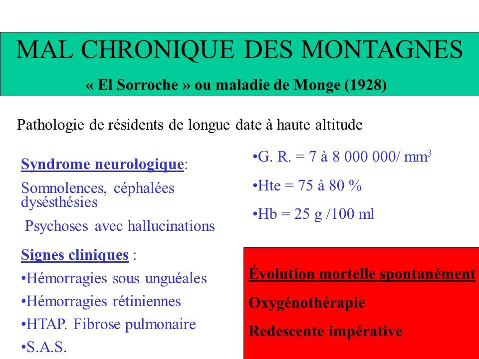 MAL CHRONIQUE DES MONTAGNES « El Sorroche » ou maladie de Monge (1928) Pathologie de résidents de longue date à haute altitude Syndrome neurologique: