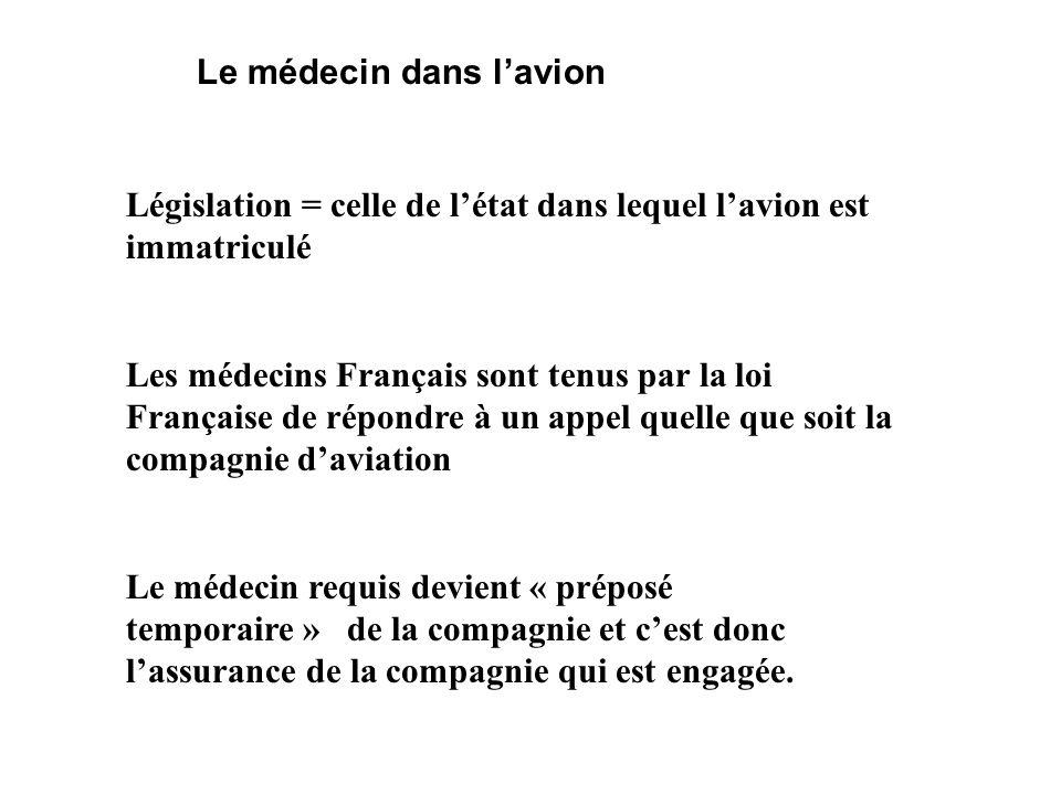 Le médecin dans lavion Législation = celle de létat dans lequel lavion est immatriculé Les médecins Français sont tenus par la loi Française de répond
