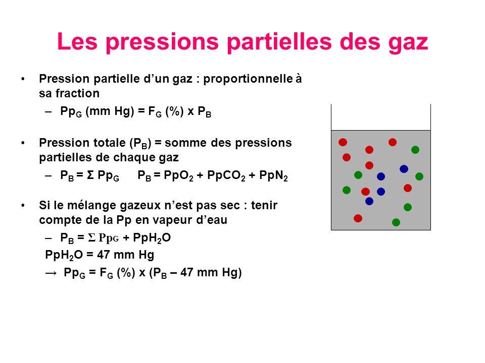 Les pressions partielles des gaz Pression partielle dun gaz : proportionnelle à sa fraction –Pp G (mm Hg) = F G (%) x P B Pression totale (P B ) = som