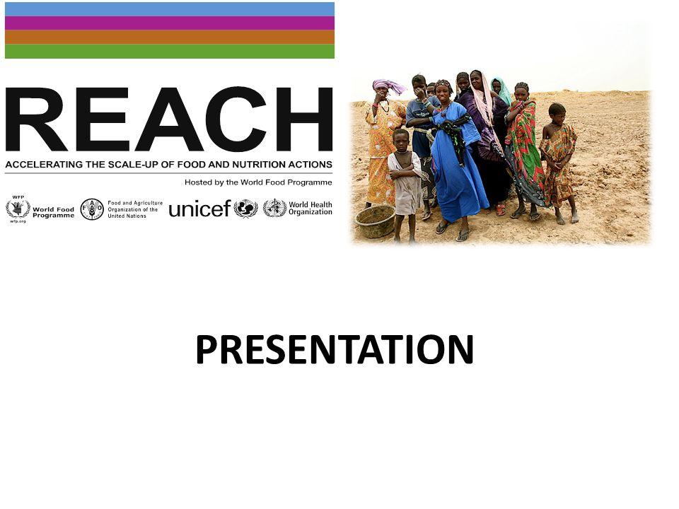 REACH (Renew Effort Against Child Hunger and Undernutrition) est une initiative inter-agences du système des Nations Unies qui aide les gouvernements dans les pays à fort taux de malnutrition maternelle et infantile à accélérer la mise à l échelle des interventions.