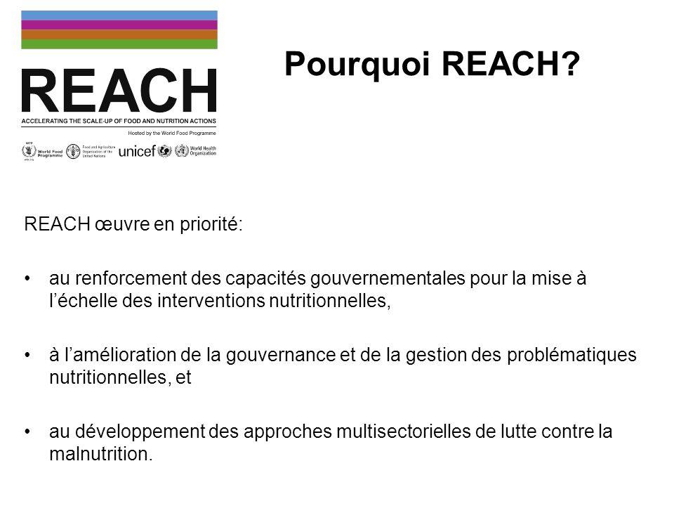 Le processus REACH A travers une méthode basée sur lutilisation doutils analytiques, le partage des connaissances et la facilitation, REACH renforce les capacités des décideurs et acteurs locaux à allouer de façon efficiente des ressources et à mettre en œuvre des interventions nutritionnelles.