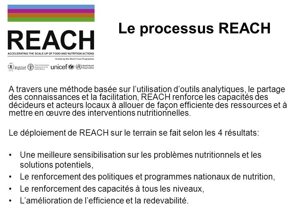 Le processus REACH au Mali Politique Nationale de Nutrition adoptée en Janvier 2013 opérationnalisation de cette Politique Nationale de Nutrition avec lélaboration d un Plan Intersectoriel de Nutrition Activités clefs du REACH pour 2013: Etude des données de références sur la nutrition au Mali.