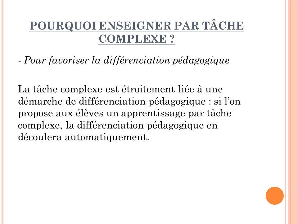 LE TRAVAIL PAR TACHE COMPLEXE PROCESSUS A SUIVRE 1.