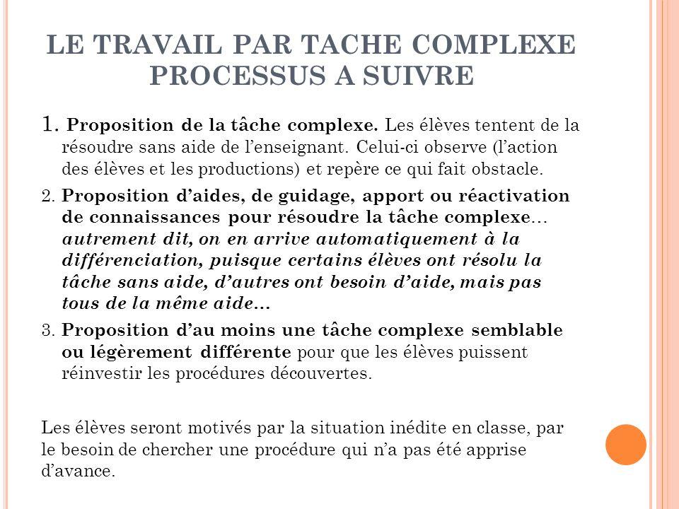 LE TRAVAIL PAR TACHE COMPLEXE PROCESSUS A SUIVRE 1. Proposition de la tâche complexe. Les élèves tentent de la résoudre sans aide de lenseignant. Celu