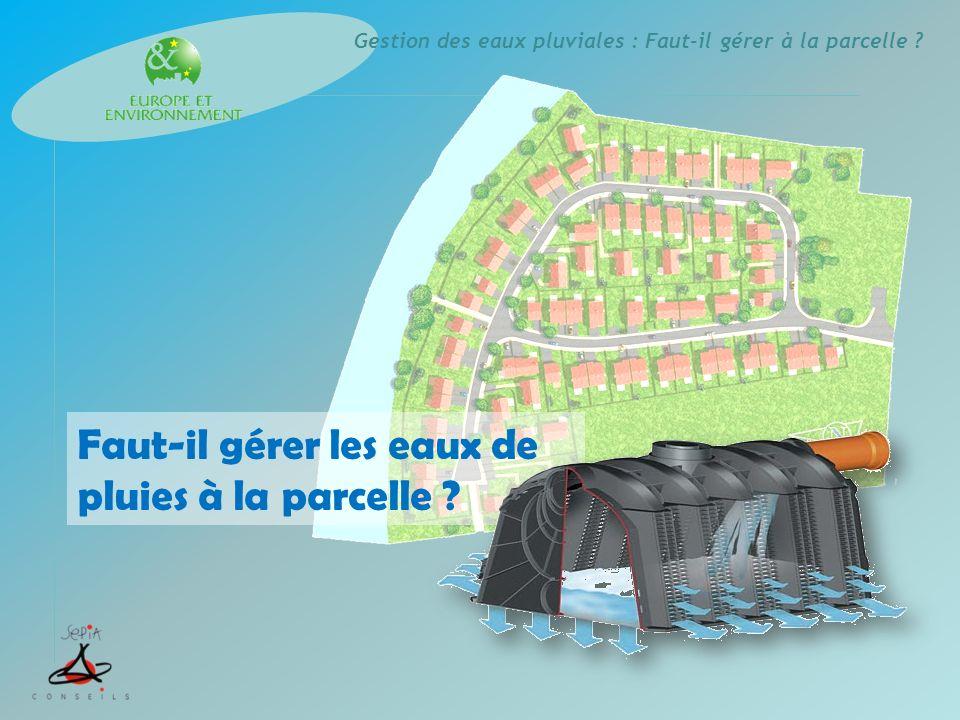 Gestion des eaux pluviales : Faut-il gérer à la parcelle .