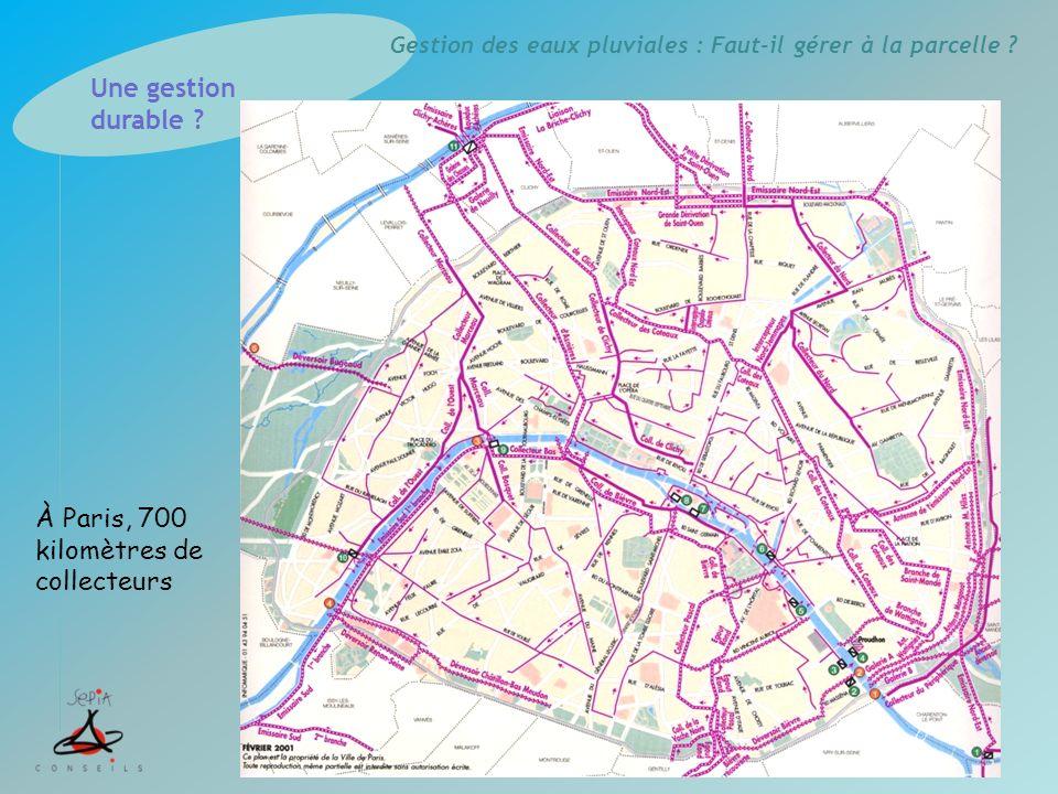 Gestion des eaux pluviales : Faut-il gérer à la parcelle ? À Paris, 700 kilomètres de collecteurs Une gestion durable ?