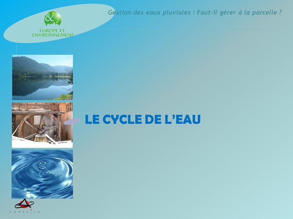 Gestion des eaux pluviales : Faut-il gérer à la parcelle ? LE CYCLE DE LEAU