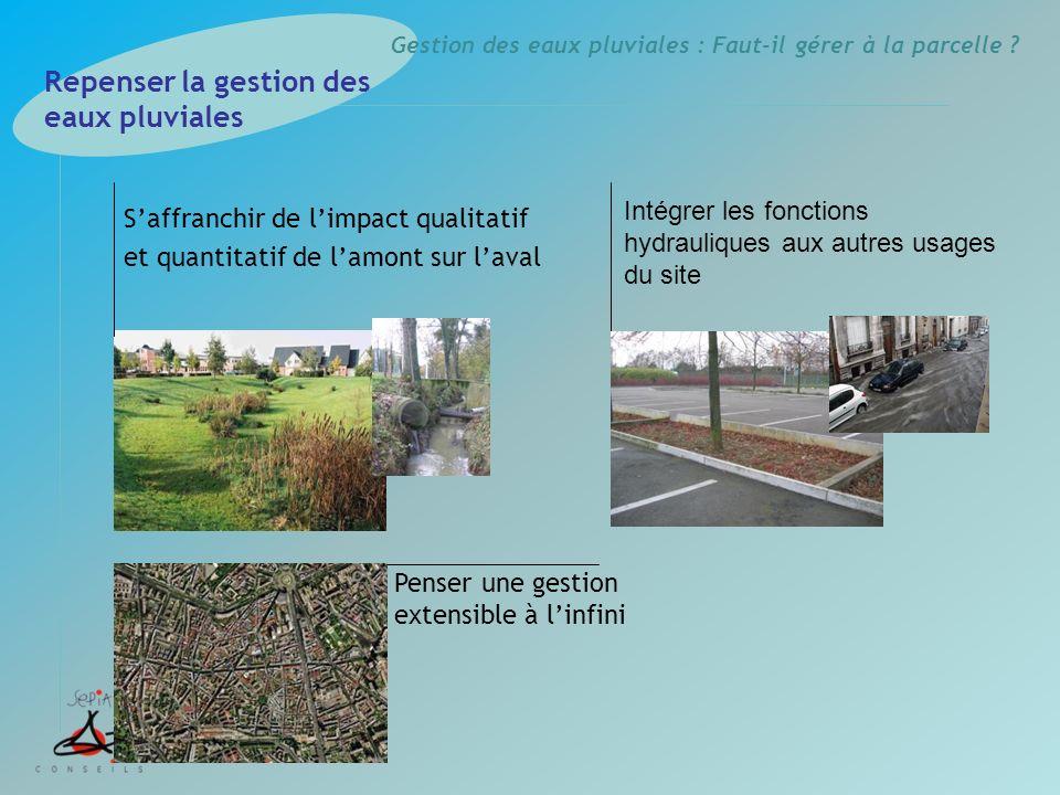 Gestion des eaux pluviales : Faut-il gérer à la parcelle ? Intégrer les fonctions hydrauliques aux autres usages du site Repenser la gestion des eaux