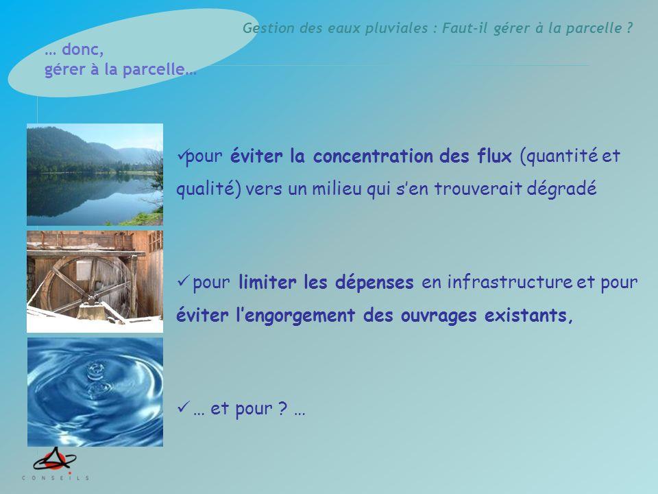 Gestion des eaux pluviales : Faut-il gérer à la parcelle ? pour éviter la concentration des flux (quantité et qualité) vers un milieu qui sen trouvera