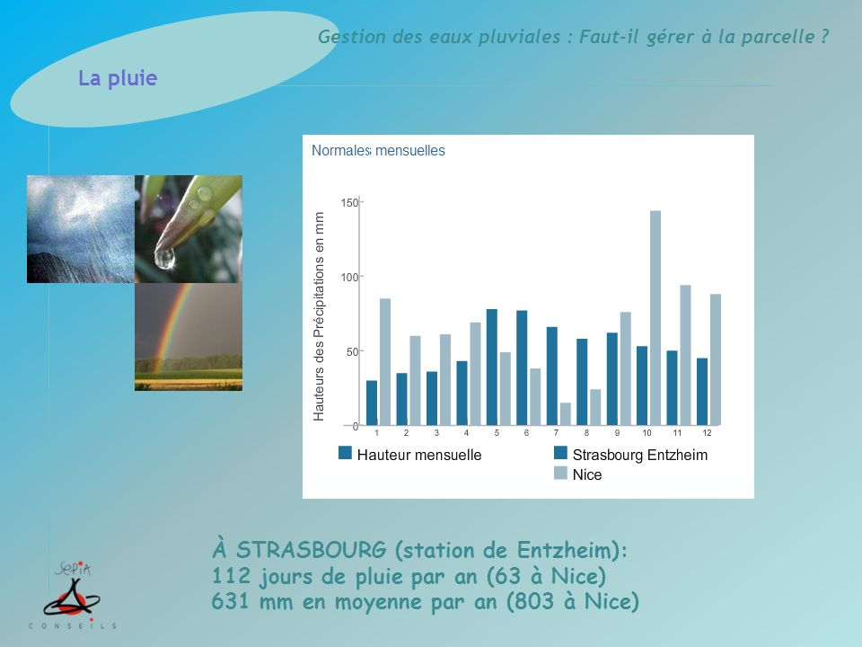 Gestion des eaux pluviales : Faut-il gérer à la parcelle ? La pluie À STRASBOURG (station de Entzheim): 112 jours de pluie par an (63 à Nice) 631 mm e
