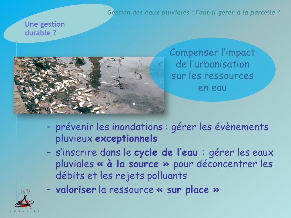 Gestion des eaux pluviales : Faut-il gérer à la parcelle ? –prévenir les inondations : gérer les évènements pluvieux exceptionnels –sinscrire dans le