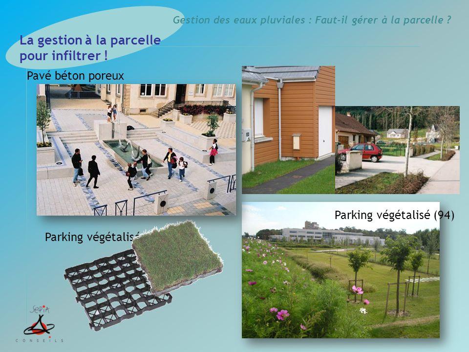 Gestion des eaux pluviales : Faut-il gérer à la parcelle ? Parking végétalisé La gestion à la parcelle pour infiltrer ! Pavé béton poreux Parking végé