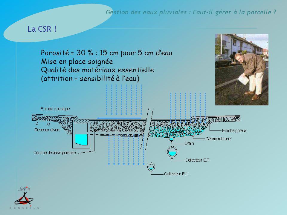 Gestion des eaux pluviales : Faut-il gérer à la parcelle ? Porosité = 30 % : 15 cm pour 5 cm deau Mise en place soignée Qualité des matériaux essentie