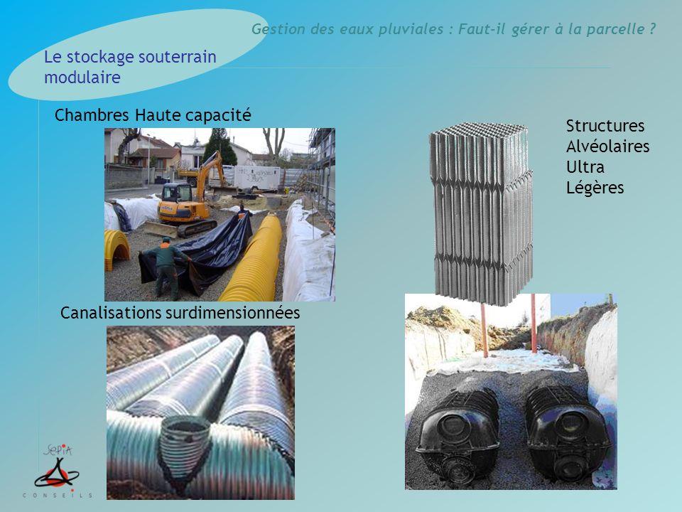 Gestion des eaux pluviales : Faut-il gérer à la parcelle ? Le stockage souterrain modulaire Chambres Haute capacité Canalisations surdimensionnées Str