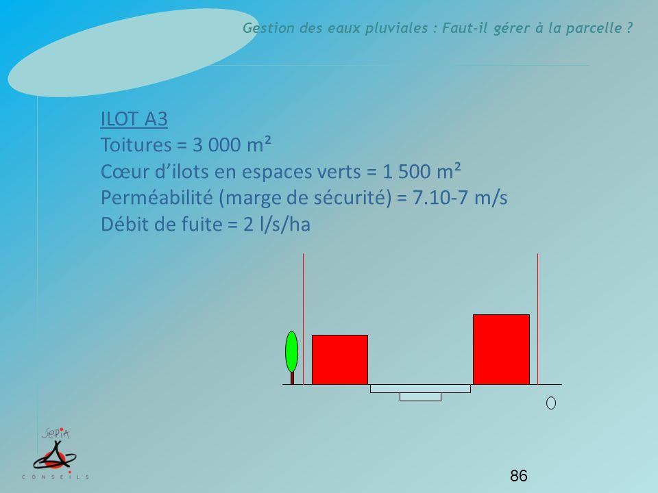 Gestion des eaux pluviales : Faut-il gérer à la parcelle ? 86 ILOT A3 Toitures = 3 000 m² Cœur dilots en espaces verts = 1 500 m² Perméabilité (marge