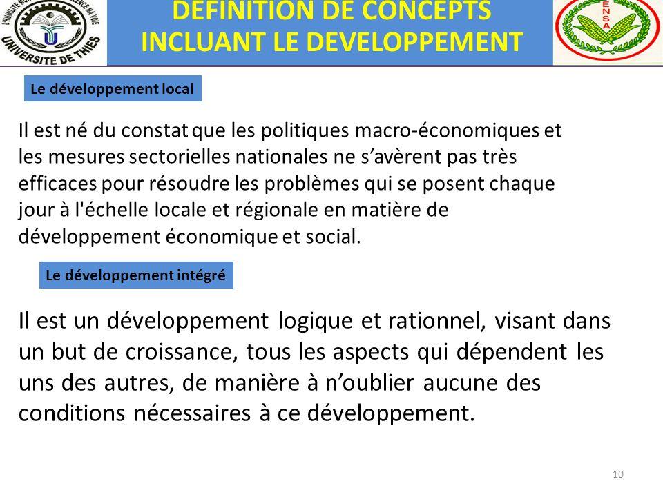 10 Le développement intégré Il est un développement logique et rationnel, visant dans un but de croissance, tous les aspects qui dépendent les uns des