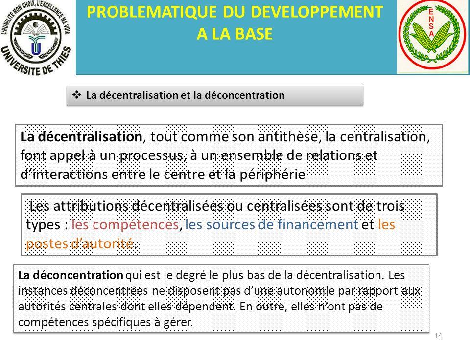PROBLEMATIQUE DU DEVELOPPEMENT A LA BASE La décentralisation et la déconcentration La décentralisation, tout comme son antithèse, la centralisation, f