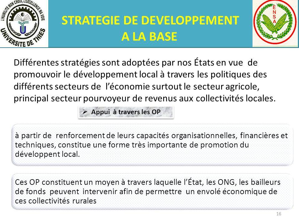 STRATEGIE DE DEVELOPPEMENT A LA BASE Différentes stratégies sont adoptées par nos États en vue de promouvoir le développement local à travers les poli