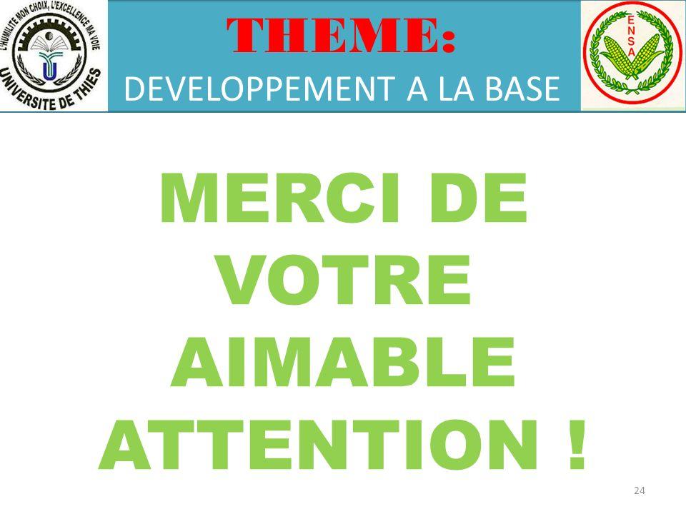 THEME: DEVELOPPEMENT A LA BASE MERCI DE VOTRE AIMABLE ATTENTION ! 24