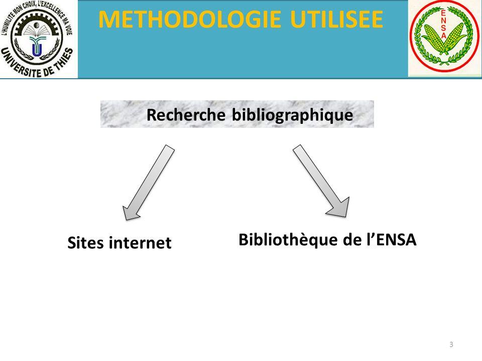 METHODOLOGIE UTILISEE Recherche bibliographique Sites internet Bibliothèque de lENSA 3