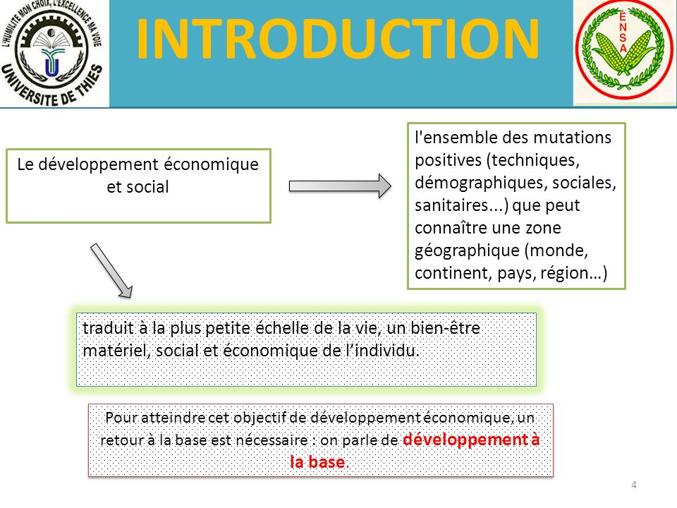 INTRODUCTION Le développement économique et social l'ensemble des mutations positives (techniques, démographiques, sociales, sanitaires...) que peut c