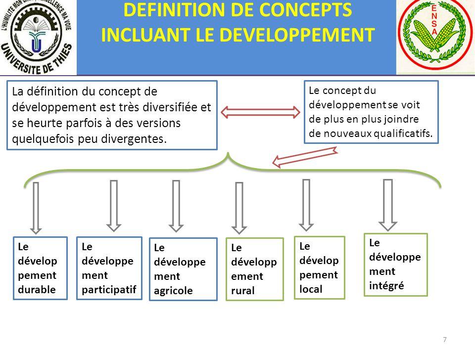 DEFINITION DE CONCEPTS INCLUANT LE DEVELOPPEMENT La définition du concept de développement est très diversifiée et se heurte parfois à des versions qu