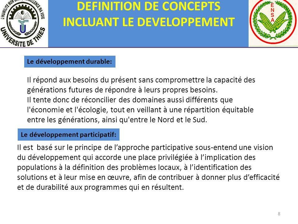 8 DEFINITION DE CONCEPTS INCLUANT LE DEVELOPPEMENT Il est basé sur le principe de lapproche participative sous-entend une vision du développement qui