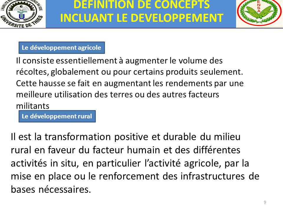 9 Le développement agricole Il consiste essentiellement à augmenter le volume des récoltes, globalement ou pour certains produits seulement. Cette hau