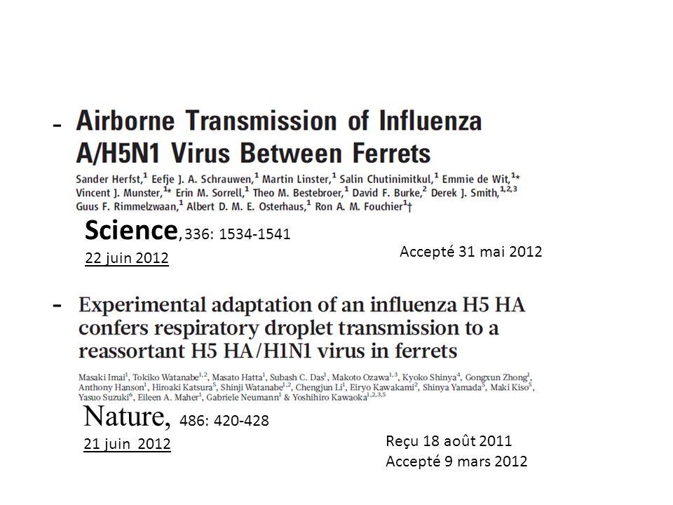 Science, 336: 1534-1541 22 juin 2012 Nature, 486: 420-428 21 juin 2012 - - Accepté 31 mai 2012 Reçu 18 août 2011 Accepté 9 mars 2012