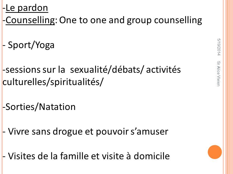 5/19/2014 -Le pardon -Counselling: One to one and group counselling - Sport/Yoga -sessions sur la sexualité/débats/ activités culturelles/spiritualité