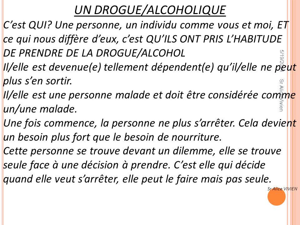 5/19/2014 UN DROGUE/ALCOHOLIQUE Cest QUI? Une personne, un individu comme vous et moi, ET ce qui nous diffère deux, cest QUILS ONT PRIS LHABITUDE DE P
