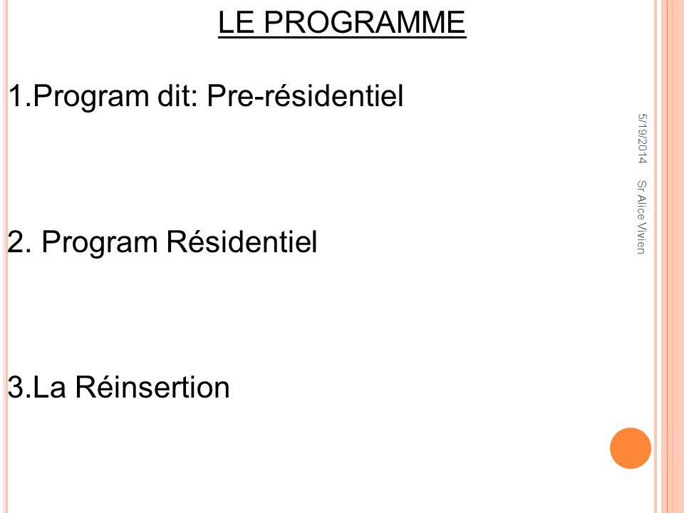5/19/2014 LE PROGRAMME 1.Program dit: Pre-résidentiel 2. Program Résidentiel 3.La Réinsertion Sr Alice Vivien