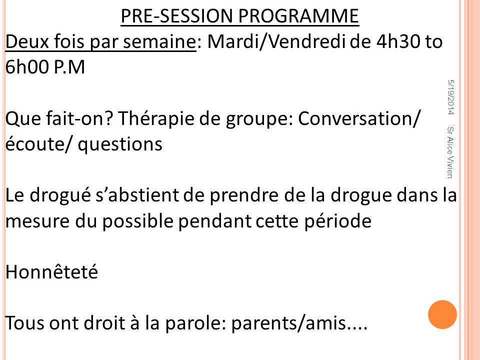 PRE-SESSION PROGRAMME Deux fois par semaine: Mardi/Vendredi de 4h30 to 6h00 P.M Que fait-on? Thérapie de groupe: Conversation/ écoute/ questions Le dr