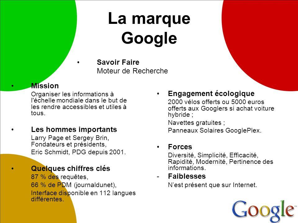 La marque Google Mission Organiser les informations à l échelle mondiale dans le but de les rendre accessibles et utiles à tous.