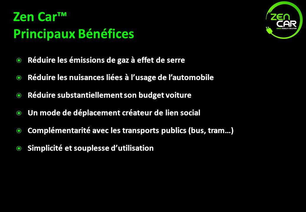 Zen Car Principaux Bénéfices Réduire les émissions de gaz à effet de serre Réduire les nuisances liées à lusage de lautomobile Réduire substantielleme