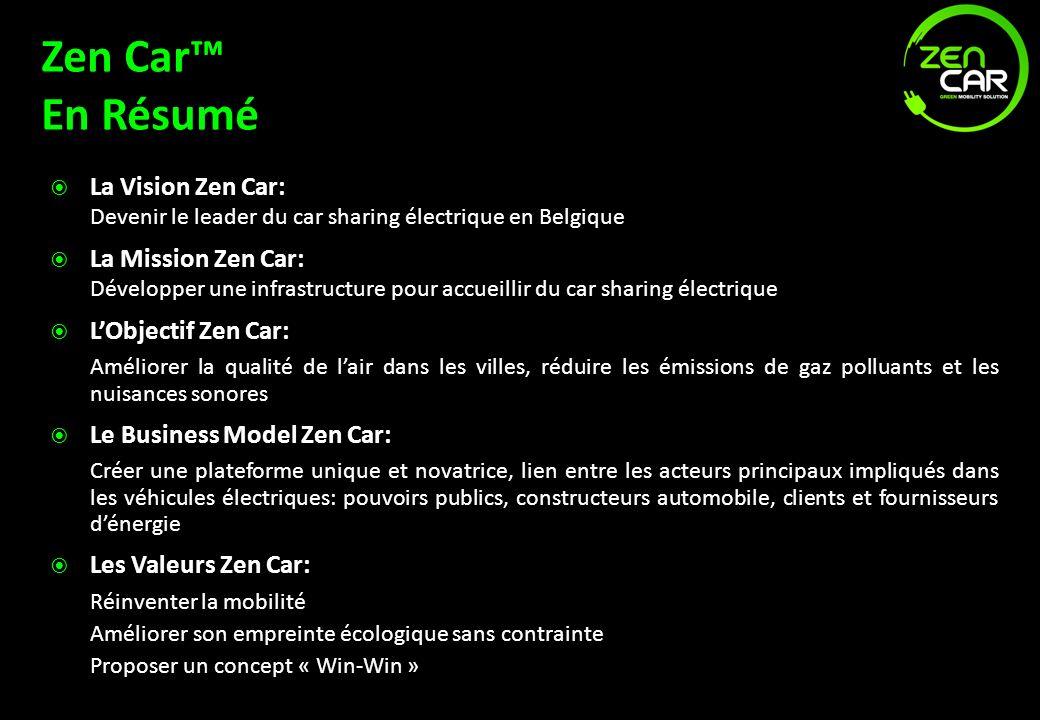 Zen Car En Résumé La Vision Zen Car: Devenir le leader du car sharing électrique en Belgique La Mission Zen Car: Développer une infrastructure pour ac