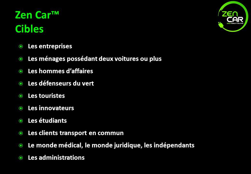 Zen Car Cibles Les entreprises Les ménages possédant deux voitures ou plus Les hommes daffaires Les défenseurs du vert Les touristes Les innovateurs L