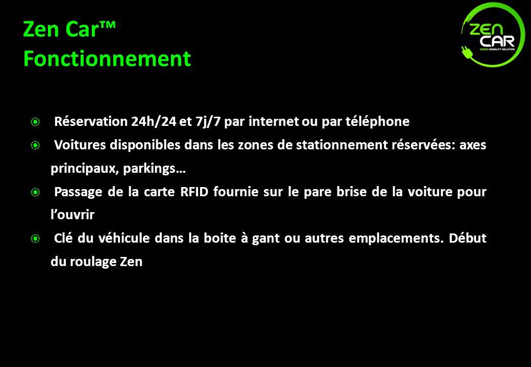 Zen Car Fonctionnement Réservation 24h/24 et 7j/7 par internet ou par téléphone Voitures disponibles dans les zones de stationnement réservées: axes p