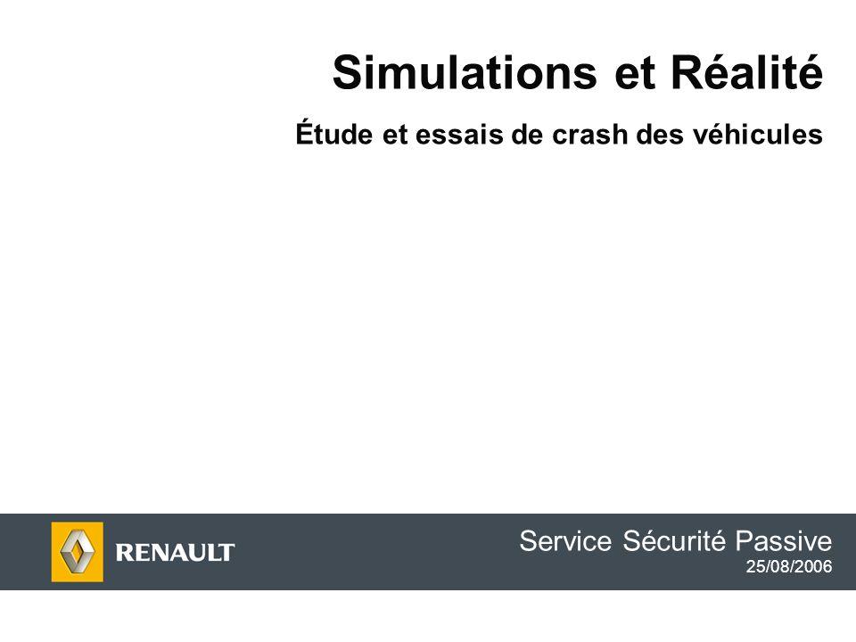 Simulations et Réalité Étude et essais de crash des véhicules Service Sécurité Passive 25/08/2006
