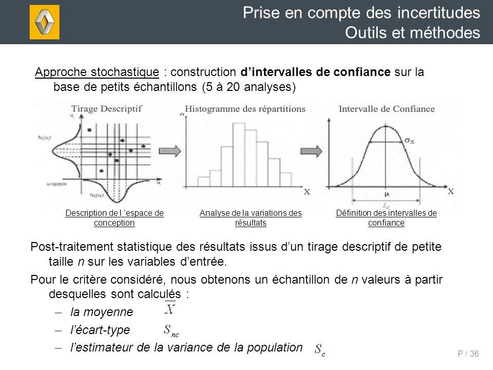 P / 36 Post-traitement statistique des résultats issus dun tirage descriptif de petite taille n sur les variables dentrée.