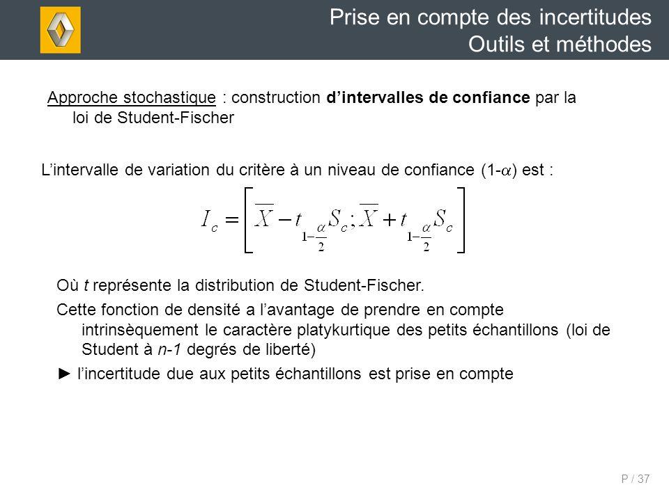 P / 37 Lintervalle de variation du critère à un niveau de confiance (1- ) est : Prise en compte des incertitudes Outils et méthodes Approche stochastique : construction dintervalles de confiance par la loi de Student-Fischer Où t représente la distribution de Student-Fischer.