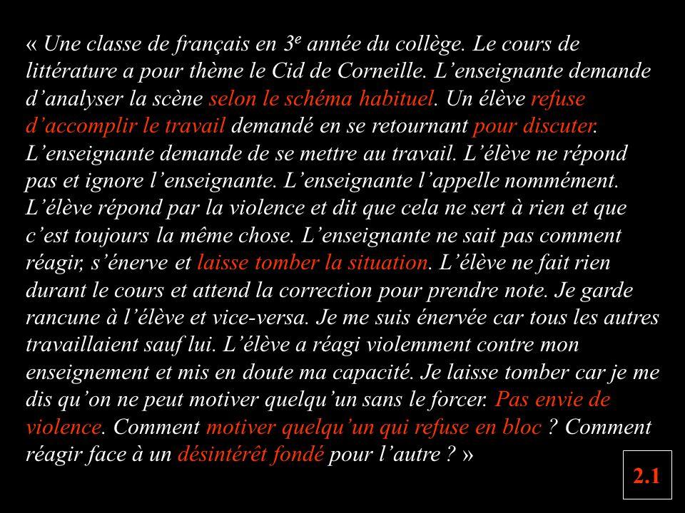 « Une classe de français en 3 e année du collège.