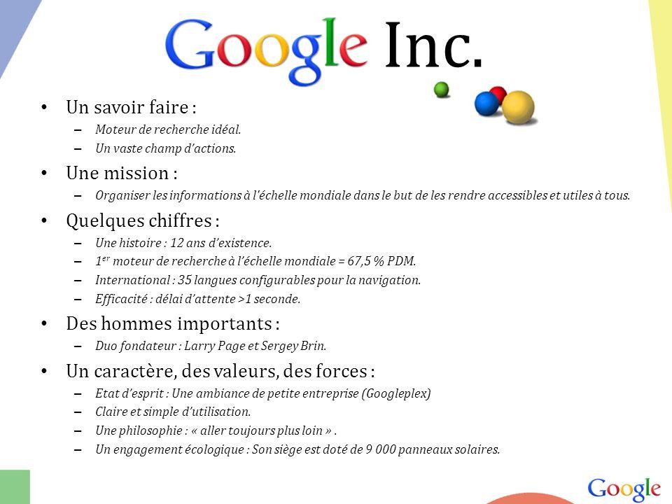 Un savoir faire : – Moteur de recherche idéal.– Un vaste champ dactions.