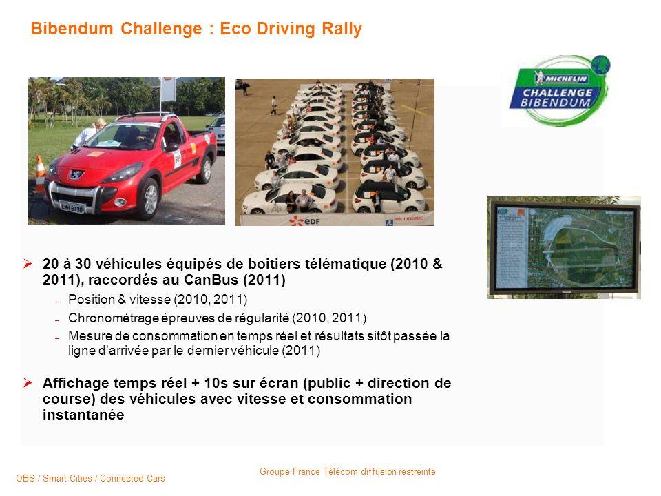 Groupe France Télécom diffusion restreinte Bibendum Challenge : Eco Driving Rally 20 à 30 véhicules équipés de boitiers télématique (2010 & 2011), raccordés au CanBus (2011) – Position & vitesse (2010, 2011) – Chronométrage épreuves de régularité (2010, 2011) – Mesure de consommation en temps réel et résultats sitôt passée la ligne darrivée par le dernier véhicule (2011) Affichage temps réel + 10s sur écran (public + direction de course) des véhicules avec vitesse et consommation instantanée OBS / Smart Cities / Connected Cars