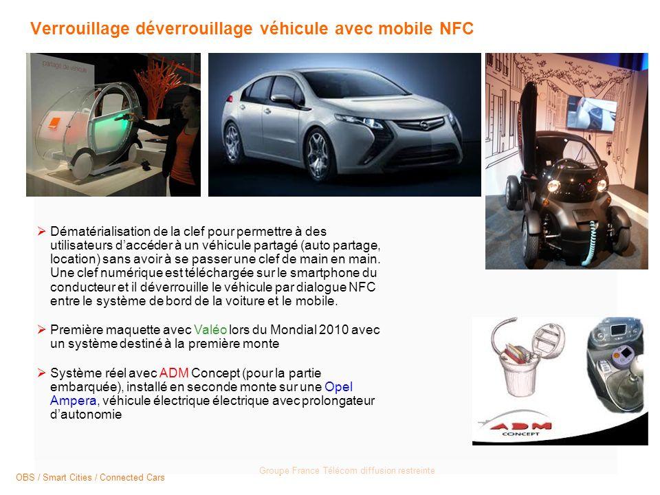 Groupe France Télécom diffusion restreinte Verrouillage déverrouillage véhicule avec mobile NFC Dématérialisation de la clef pour permettre à des utilisateurs daccéder à un véhicule partagé (auto partage, location) sans avoir à se passer une clef de main en main.