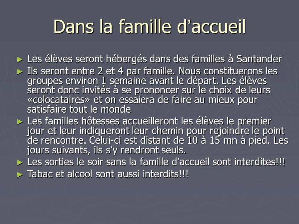 Dans la famille d accueil Les élèves seront hébergés dans des familles à Santander Les élèves seront hébergés dans des familles à Santander Ils seront entre 2 et 4 par famille.